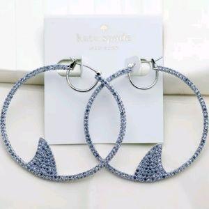 Kate Spade Beach Blue Shark Hoop Earrings